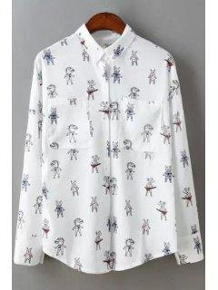 Shirt Collar Cartoon Print Long Sleeve Shirt - White