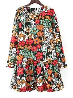 Colorful Floral Printed Long Sleeve Dress - Red With Black L
