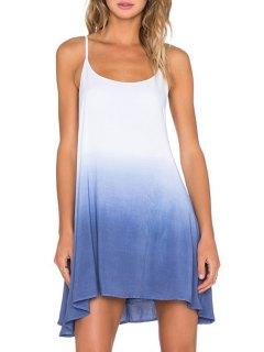 Color Block Cami A Line Dress - Blue Xl