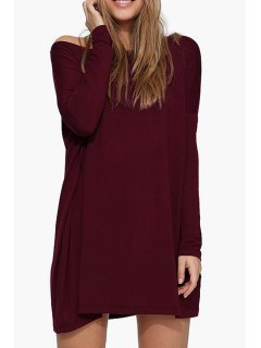 Boat Neck Loose Fitting Dress - Wine Red S