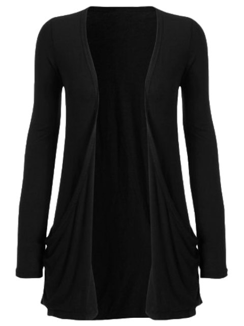 outfits Pure Color Long Sleeve Cardigan - BLACK M Mobile
