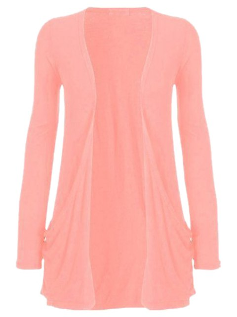 unique Pure Color Long Sleeve Cardigan - PINK XL Mobile