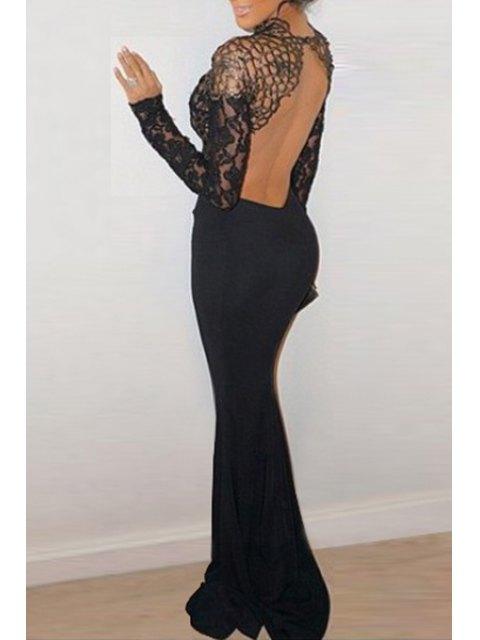 fancy Lace Spliced Open Back Black Fishtail Dress - BLACK ONE SIZE(FIT SIZE XS TO M) Mobile