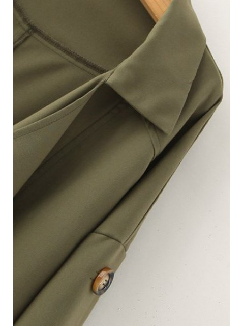 hot Golilla Solid Color Buttons Long Sleeve Trench Coat - KHAKI M Mobile