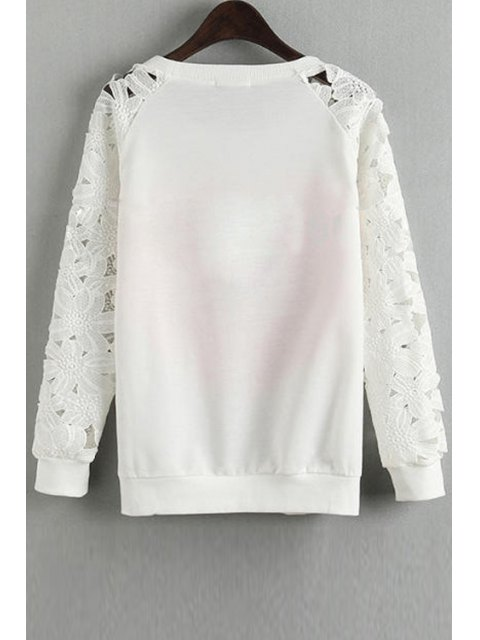 ladies Lace Spliced Long Sleeve Sweatshirt - WHITE S Mobile