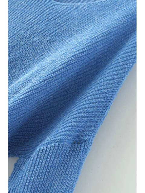shops Pure Color Loose Long Sleeve Sweater - SAPPHIRE BLUE ONE SIZE(FIT SIZE XS TO M) Mobile