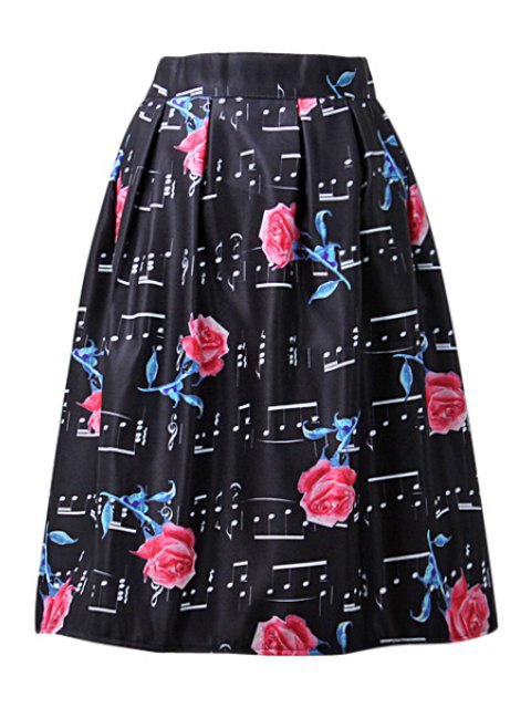 unique A-Line Floral and Music Notes Print Midi Skirt - BLACK ONE SIZE(FIT SIZE XS TO M) Mobile