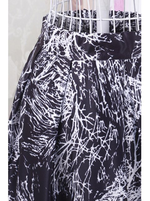 outfit Ruffled A-Line Graffiti Print Midi Skirt - BLACK ONE SIZE(FIT SIZE XS TO M) Mobile