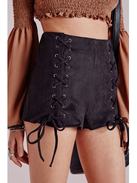 sale Black Lace Up High Waisted Shorts - BLACK S Mobile