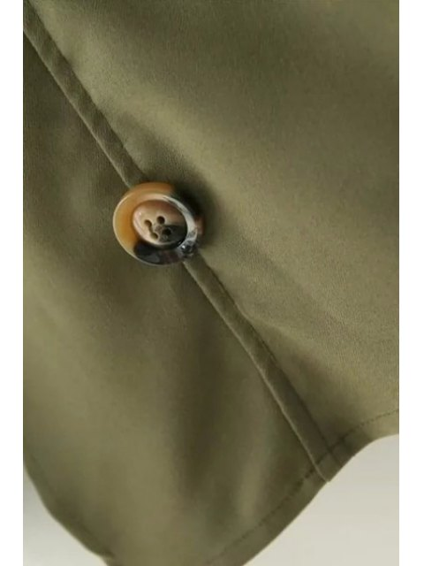 women Loose-Fitting Buttons Long Sleeve Trench Coat - KHAKI S Mobile
