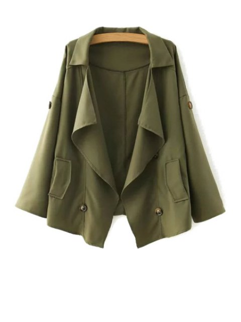 outfit Loose-Fitting Buttons Long Sleeve Trench Coat - ARMY GREEN M Mobile
