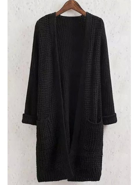 shop Solid Color Pocket Long Sleeve Collarless Cardigan - BLACK S Mobile
