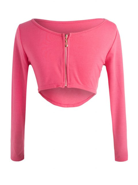 affordable Long Sleeve Fitted Zipper Design Crop Top - ROSE XL Mobile