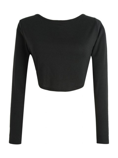chic Long Sleeve Fitted Zipper Design Crop Top - BLACK L Mobile