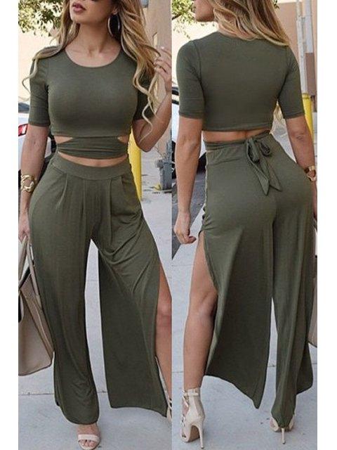 women's Solid Color Short Sleeve Crop Top and Wide Leg Pants Suit - BLACKISH GREEN L Mobile