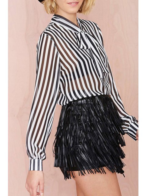 lady Bow Tie Collar See-Through Stripe Shirt - WHITE AND BLACK 2XL Mobile