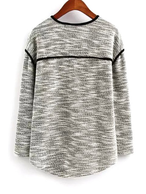 outfit Color Block V Neck Long Sleeve Knitwear - GRAY L Mobile