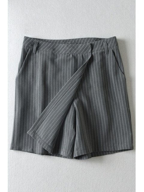 unique Vertical Stripes Pocket Pantskirt - GRAY S Mobile