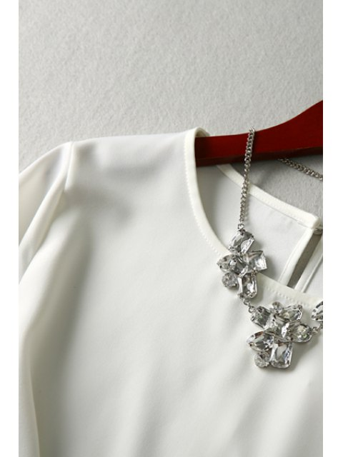 affordable Flouncing Sleeve Keyhole White T-Shirt - WHITE S Mobile