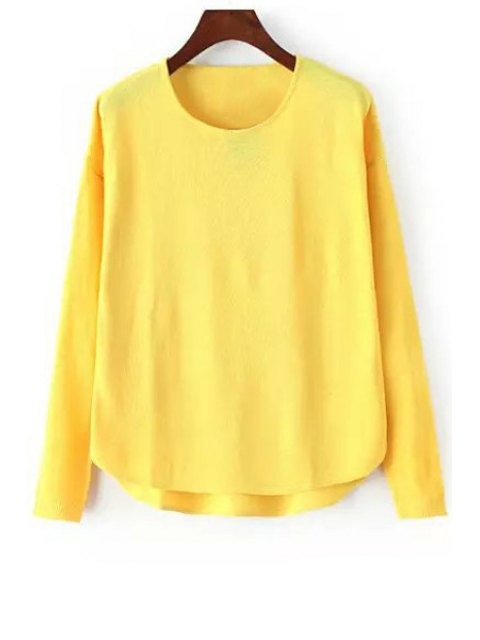 chic High Low Solid Color Long Sleeve Sweater - YELLOW ONE SIZE(FIT SIZE XS TO M) Mobile