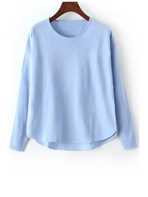 affordable High Low Solid Color Long Sleeve Sweater - BLUE ONE SIZE(FIT SIZE XS TO M) Mobile