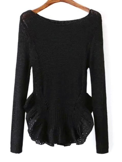 unique Scoop Neck See-Through Flounce Splicing Sweater - BLACK ONE SIZE(FIT SIZE XS TO M) Mobile
