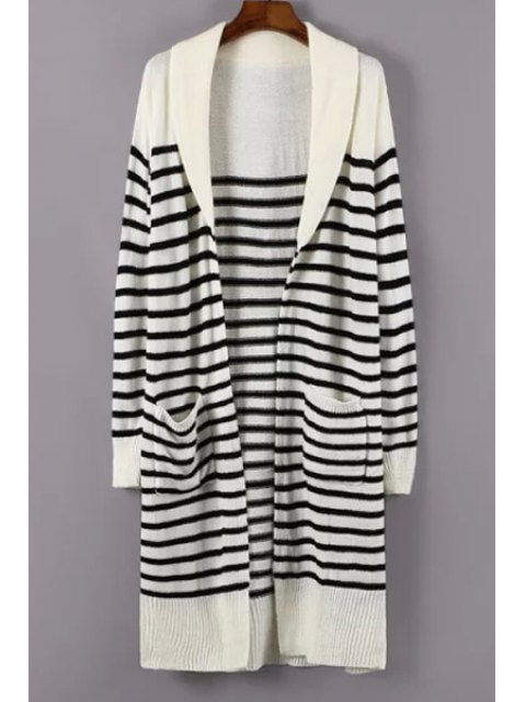 latest Turn-Down Collar White Black Stripe Cardigan - WHITE ONE SIZE(FIT SIZE XS TO M) Mobile