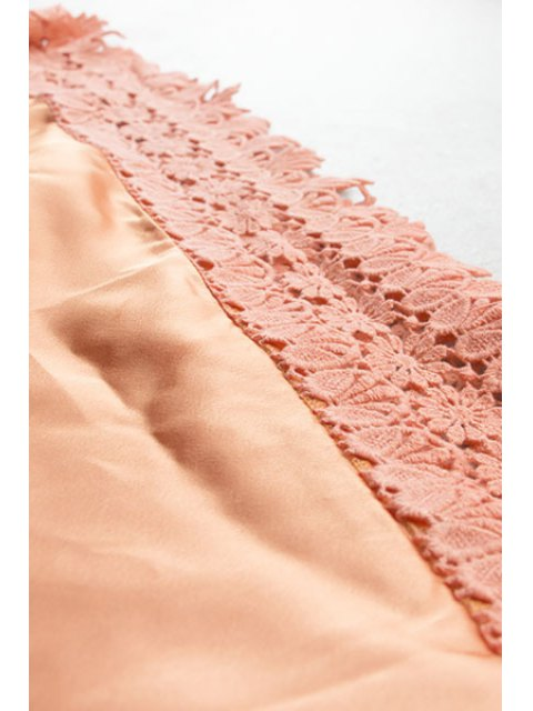 trendy Lace Spliced Cami Orange Dress - ORANGE S Mobile