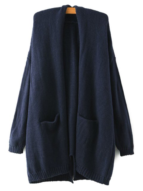 latest Back Slit Pocket Long Sleeve Cardigan - CADETBLUE ONE SIZE(FIT SIZE XS TO M) Mobile