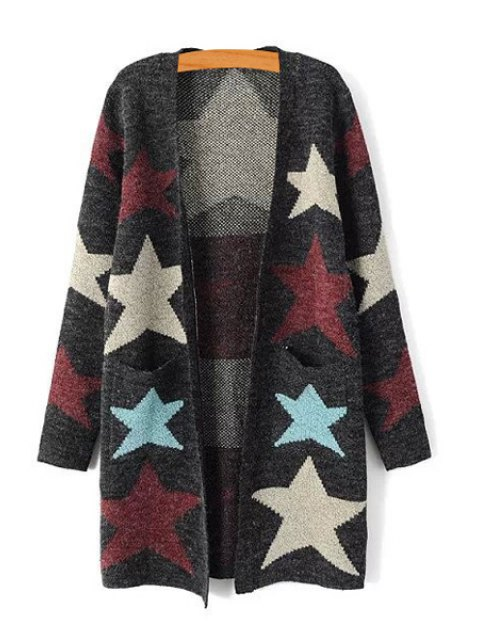 fancy Color Block Star Pattern Long Sleeve Cardigan - GRAY ONE SIZE(FIT SIZE XS TO M) Mobile