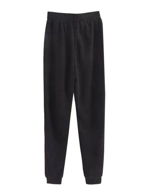 fancy Tie-Up Solid Color Pants - BLACK M Mobile