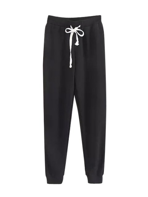 fancy Tie-Up Solid Color Pants - BLACK M Mobile