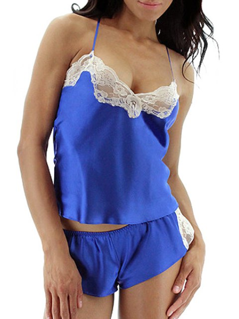 affordable Spaghetti Strap Lace Splicing Tank Top and Shorts Suit - BLUE 3XL Mobile