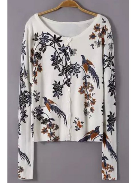 ladies Scoop Neck Floral Bird Pattern Cardigan - WHITE M Mobile