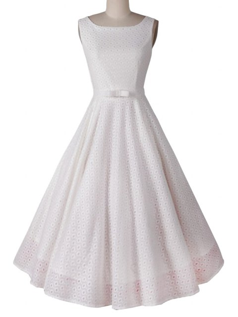 outfit Polka Dot Ball Gown Sleeveless Dress - WHITE M Mobile