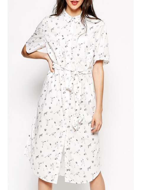 outfits Shirt Collar Character Print Midi Dress - WHITE M Mobile