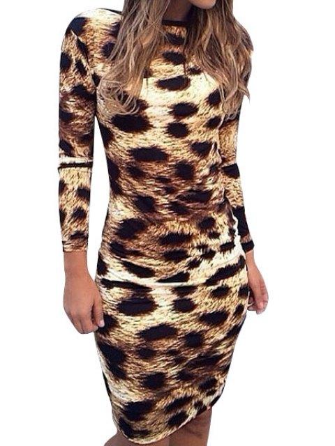 trendy Leopard Pattern Backless Long Sleeve Dress - LEOPARD S Mobile