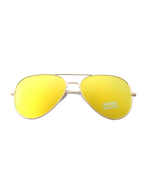 women's Golden Full Frame Sunglasses - YELLOW  Mobile
