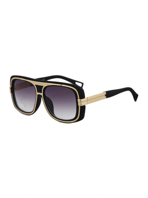 unique Metal Inlay Matte Black Frame Sunglasses - BLACK  Mobile