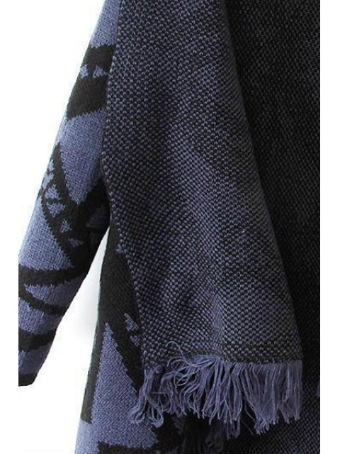 outfit Turn Down Collar Geometric Pattern Cardigan - BLUE M Mobile