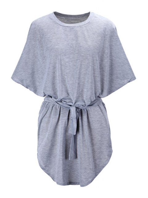 women Batwing Sleeve Solid Color Loose-Fitting Dress - GRAY 2XL Mobile