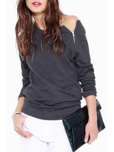 sale Boat Neck Zipper Embellished Long Sleeve Sweatshirt - GRAY L Mobile
