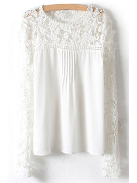 Crochet Flower Splicing Long Sleeves Blouse - Blanc XL Mobile