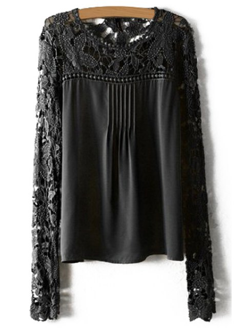 outfits Crochet Flower Splicing Long Sleeves Blouse - BLACK L Mobile