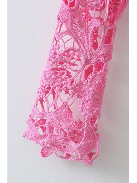 women's Crochet Flower Splicing Long Sleeves Blouse - BLACK M Mobile