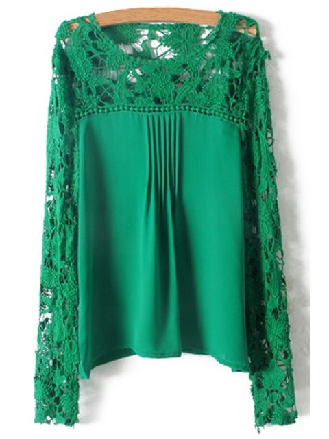 outfit Crochet Flower Splicing Long Sleeves Blouse - GREEN M Mobile
