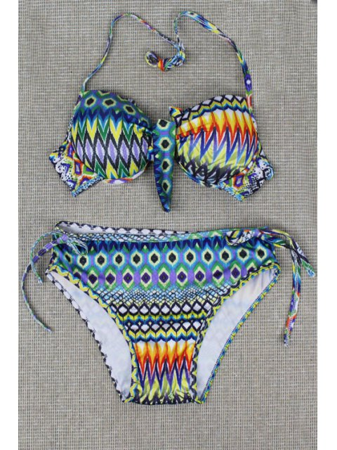 best Tribal Print Halterneck Bikini Set - LIGHT BLUE M Mobile