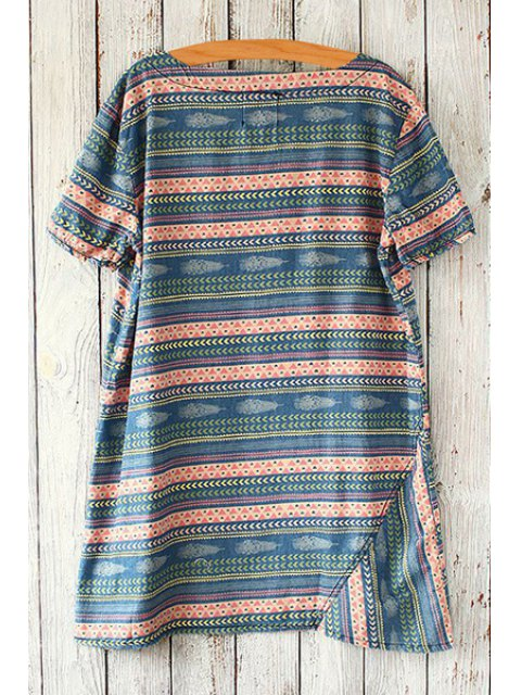 shop Jewel Neck Colorful Stripe Short Sleeve T-Shirt - BLACKISH GREEN ONE SIZE(FIT SIZE XS TO M) Mobile