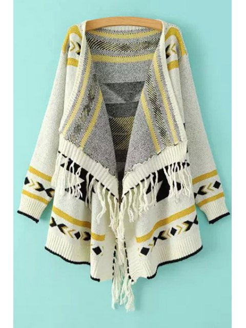 unique Ethnic Pattern Tassels Asymmetrical Cardigan - WHITE ONE SIZE(FIT SIZE XS TO M) Mobile