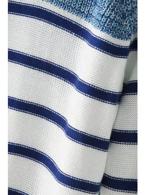womens Long Sleeve Color Block Stripes Sweater - BLUE AND WHITE ONE SIZE(FIT SIZE XS TO M) Mobile